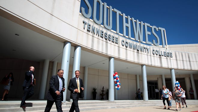 August 25, 2015 - Tennessee Governor Bill Haslam leaves the Bert Bornblum Library at the Macon Cove campus of Southwest Tennessee Community College following an event to celebrate the Tennessee Promise program. (Mike Brown/The Commercial Appeal)
