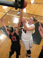 Buckeye Central's Courtney Pifher makes a basket during