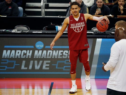 Oklahoma's Trae Young participates in a practice for an NCAA men's college basketball tournament first-round game, in Pittsburgh on Wednesday, March 14, 2018. Oklahoma plays Rhode Island on Thursday. (AP Photo/Gene J. Puskar)