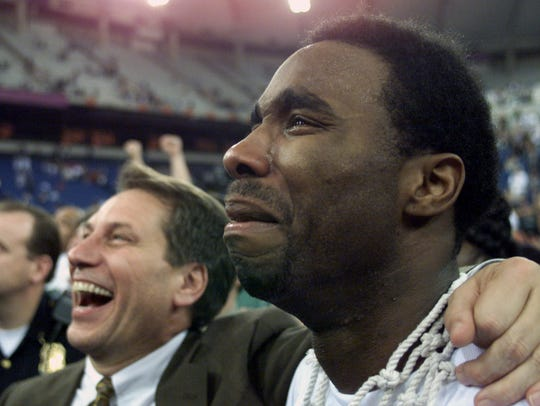Mateen Cleaves #12 of Michigan State comes to tears