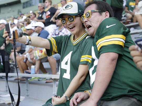 Ayaka and Omi Uchida, were two of the 24 Green Bay Packers fans from Japan who attended the Sept. 24, 2017 game against the Cincinnati Bengals at Lambeau Field in Green Bay, Wis. Sarah Kloepping/USA TODAY NETWORK-Wisconsin