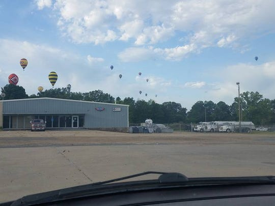Andrea Fegley spots hot air balloons near Pel-State