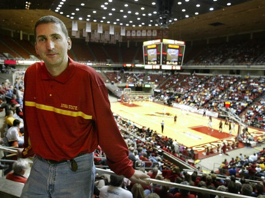 Iowa State Director of Athletics is seen in a 2005 photo in Hilton Coliseum after being hired by ISU.
