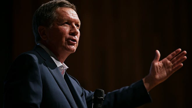 Ohio Governor John Kasich speaks during the 2016 Iowa Caucus Consortium as part of the Caucus Candidate Forum Series at the Iowa State Historic Building on Wednesday, June 24, 2015.