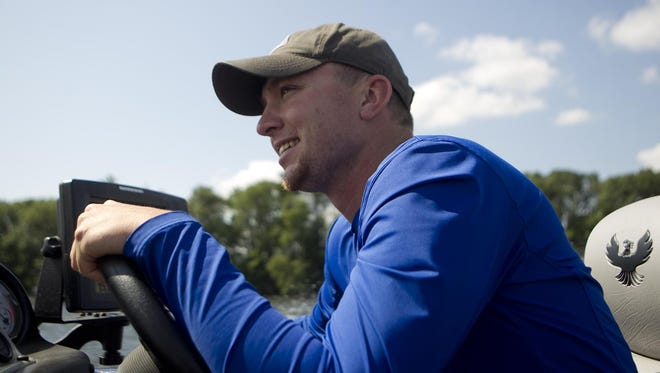 Kacey Meyer of Marshfield drives his boat on Lake DuBay during the Bassmaster College Series National Championship.