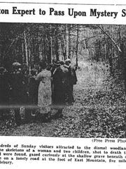 A crowd gathering at the crime scene, as photographed and published by the Burlington Free Press on May 20, 1930
