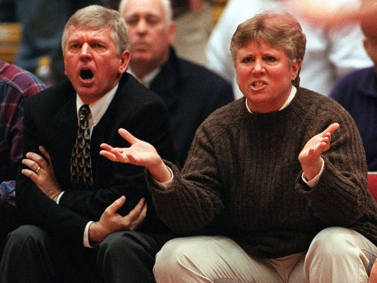 Dowling coaches Bob, left, and Sharon Hanson question