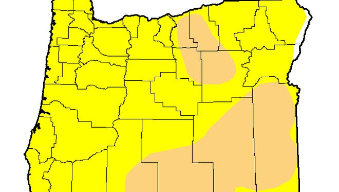 Nearly all of Oregon is abnormally dry, and more than a quarter is in moderate drought.