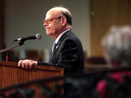 Congressman Steve Cohen, D-Memphis, gets a standing ovation after he announced he will boycott the presidential inauguration during a speech at the Be the Dream Commemorative Celebration at Mason Temple.