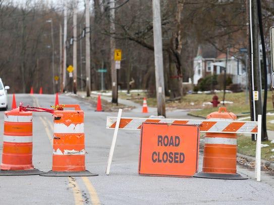 A road closed sign on Cedar Avenue in Poughkeepsie