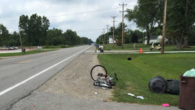 A bicycle is shown with damage after a crash on Aug. 1 near the 5000 block of Gratiot Ave.