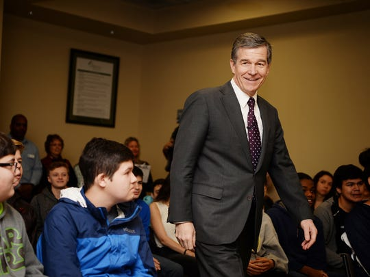 Gov. Roy Cooper arrives at Mission Cancer Center in Asheville to speak to Valley Springs Middle School students during the Students@Work program March 27, 2018.