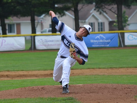 Gull Lake's Luke Scoles throws home during this regional