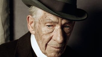 """In this undated photo released by See-Saw Films, British actor Ian McKellen poses for a photograph on the first day of filming for """"Mr. Homes"""", in which he portrays a 93-year-old Sherlock Holmes."""