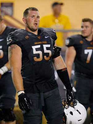 Arizona State Sun Devils offensive lineman Christian Westerman takes a break during their annual spring game/practice at Sun Devil Stadium on Friday, April 10, 2015, in Tempe.