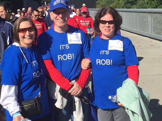 Janice Selfridge, left, 57 of Fishkill, is pictured with friends Dan Tappen, 62, and Kathy Tappen, 60, also of Fishkill during Saturday's Prostate Cancer Walk at Walkway Over the Hudson State Park. They were walking in memory of Janice's brother, Rob Selfridge, who died of prostate cancer in 2014.