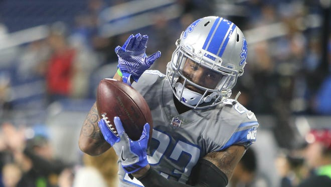 Detroit Lions' Darius Slay warms up before action against the Chicago Bears, Saturday, Dec. 16, 2017 at Ford Field.