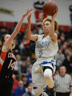 Green Bay Southwest HIgh School player Natisha Hiedeman (5) drives the lane in the D2 sectional finals against Cedarburg at Fond du Lac High School March 7, 2015.