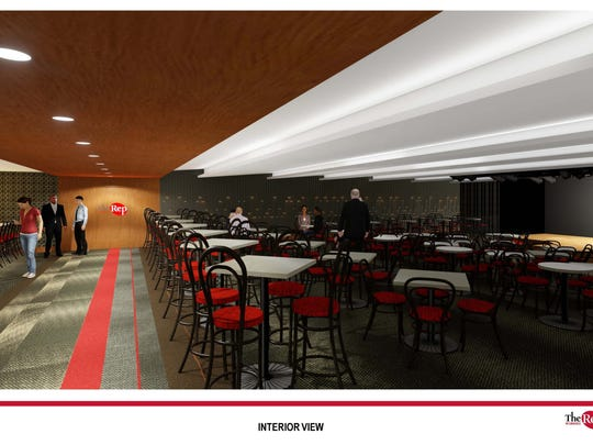 A rendering of what the Stackner Cabaret could look like after renovation, including a glimpse of the stage at right.