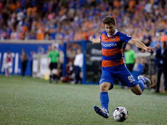 FC Cincinnati forward Daniel Haber (92) shoots during