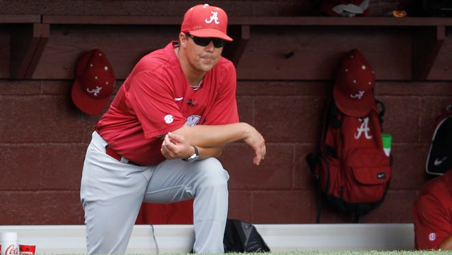 Alabama coach Mitch Gaspard, shown here in the 2013 regional at Tallahassee, and the Crimson Tide open a renovated Sewell-Thomas Stadium in the 2016 season opener.