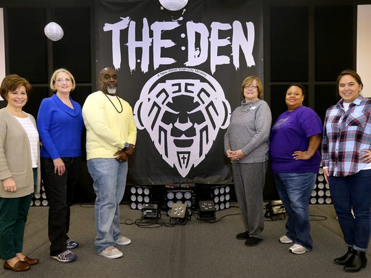 Read ro Succeed has been teaming with The Den to help people learn to read and write in English. Left to Right Amy Maynard, Karen Vaughn, Pastor Michael Davis, Carolynn Kobiske, Thomasina Scharkley, and Malia Grubbs all stand on the stage at The Den on, Thursday, Jan. 28, 2016. Davis and Scharkley are with The Den and the others are with Read to Succeed.