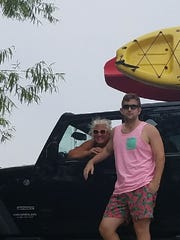 Back home Brennan Woodruff was home from the Big Apple and spent some quality time with his mom Barb Woodruff on a kayaking afternoon.