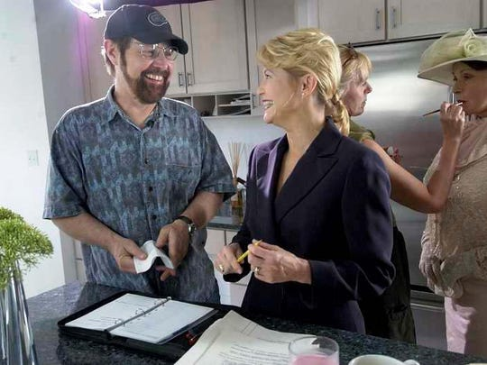 """David O'Malley compares notes with actress Dee Wallace during the filming of the movie """"Kalamazoo?"""" in 2006."""