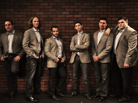 From left: Mike Boxer, Rob Operman, Mordy Weinstein, Jacob Spadaro, Eric Dinowitz and Craig Resmovits are the members of Six13, a Jewish a cappella singing group.
