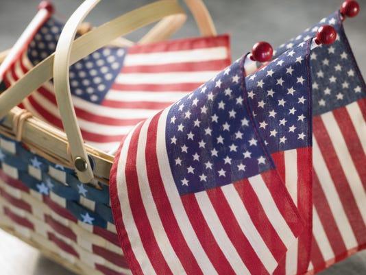 Basket of american flags