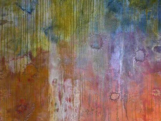 """Bloom"" by Joanie Gagnon San Chirico. Acrylic, thread on canvas."