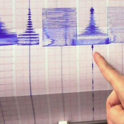 A 2013 file photo of a seismograph recording a 6.3-magnitude