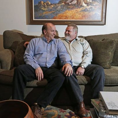 Jim Brenner, left, and Chuck Jones at their home in