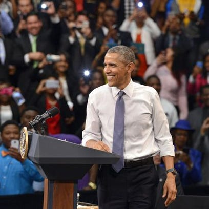President Barack Obama speaks at Benedict College in
