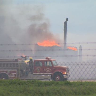 Fire after the explosion in Karnes County.