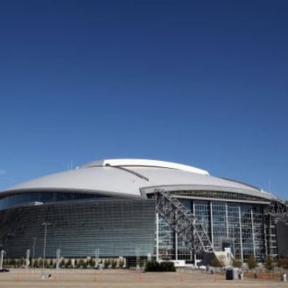 A general view of the exterior of AT&T Stadium.