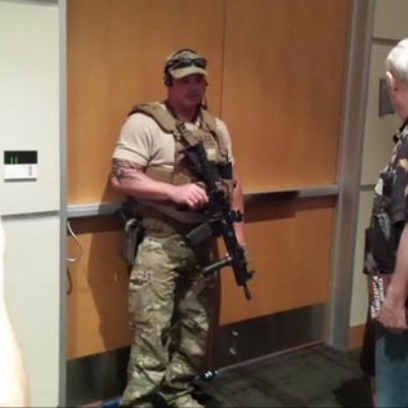 SWAT members ordered attendees at an art exhibit in