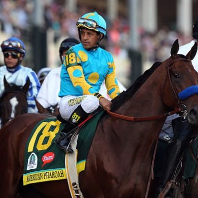 American Pharaoh during the 141st running of the Kentucky