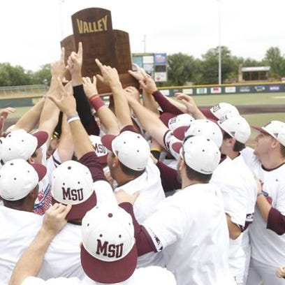 Missouri State's baseball team celebrates with the