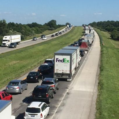 Southbound traffic on Interstate 65 was at a standstill