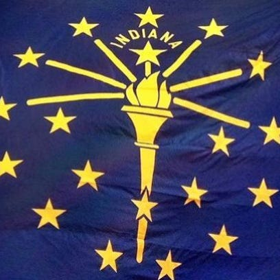 Detail of the flag of Indiana at the Indiana Statehouse