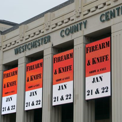 The upcoming firearm and knife show event is displayed