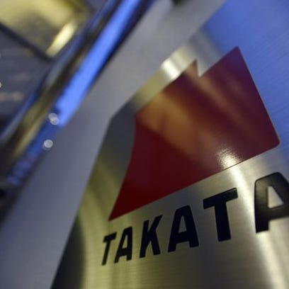 The logo of Japanese auto-parts supplier Takata Corp.