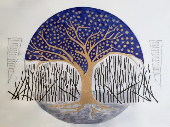 A local artist, designer and second generation Holocaust survivor, Evelyn Rauch, created a beautiful and moving glass mosaic mural for the JCC Holocaust Memorial and Education Center to honor the souls that were lost in the Holocaust and those that survived. This is the original design of the mural.