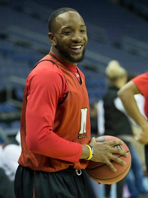 Maryland guard/forward Dez Wells during practice at Nationwide Arena.