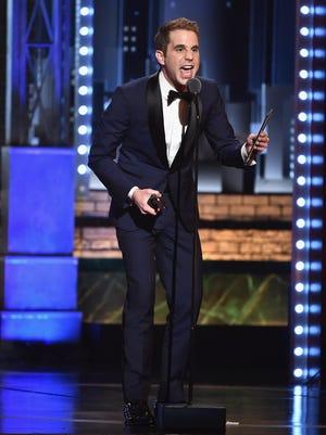 Ben Platt accepts the award for best lead actor in a musical for 'Dear Evan Hansen.'