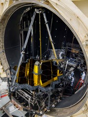 NASA's James Webb Space Telescope's optical system inside Johnson Space Center's thermal vacuum Chamber A, where the observatory's optics system was tested last summer. Chamber A is able to produce the vacuum and extremely cold temperatures Webb will experience during its mission.