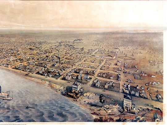 This painting depicts Evansville in 1856. This image shows the city's second graveyard, which was moved away from Fourth and Vine streets further out of town.