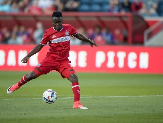 Former Chicago Fire forward David Accam looks to score against the Orlando City SC. Nashville SC's MLS team acquired Accam in a trade with Columbus Crew SC on May 16.