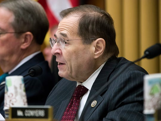 Rep. Jerrold Nadler, D-N.Y., joined at left by House Judiciary Committee Chairman Bob Goodlatte, R-Va., makes a statement at a gun-rights hearing on Capitol Hill in Washington, D.C., Nov. 29, 2017.